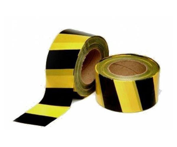 Fita de isolamento zebrada preta e amarela 200mx7cm