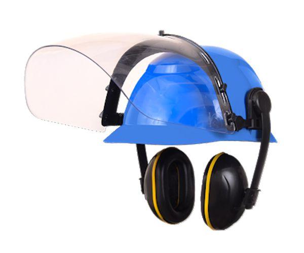 Kit Conjugado capacete com abafador de ruído e protetor facial incolor