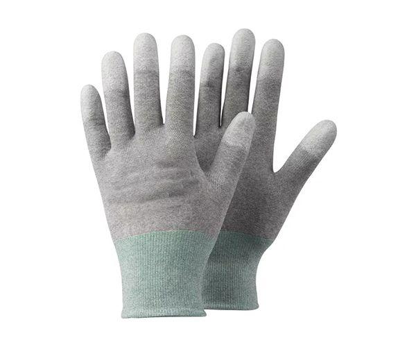 Luva Antiestática com banho PU na ponta dos dedos cinza t. 9