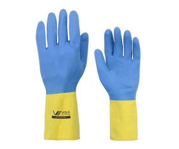 Luva Bicolor de látex e neoprene azul e amarela