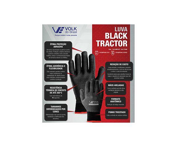 Luva Black Tractor tricotada algodão com banho látex vulcanizado preta