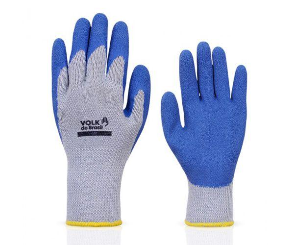 Luva Grip tricotada algodão com banho látex azul t. 9