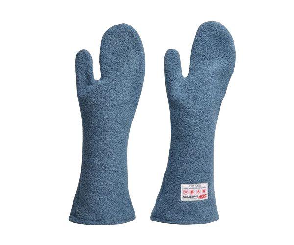 Luva Kombat Heat grafatex térmica para cozinha industrial 2 dedos (mão de gato) azul
