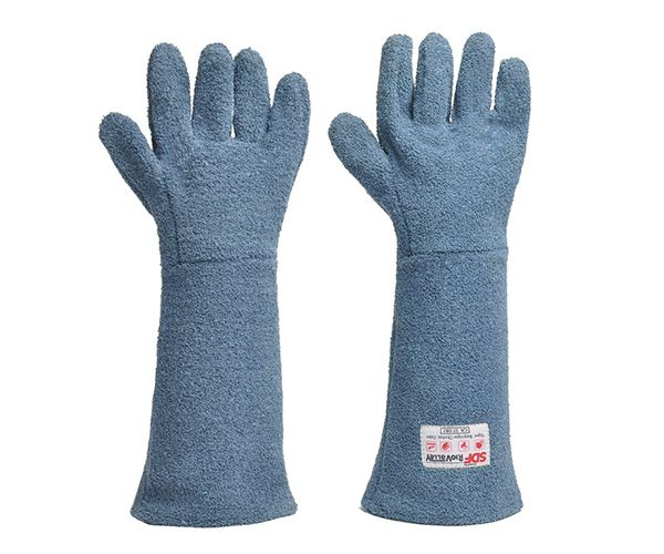 Luva Kombat Heat grafatex térmica para cozinha industrial 5 dedos azul