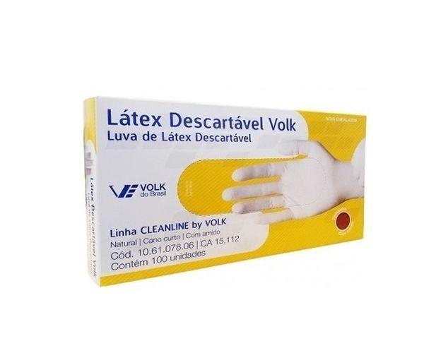 Luva látex descartável com pó (caixa com 100) branca