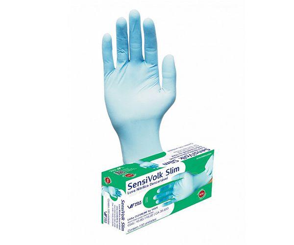Luva Sensi Slim nitrílica descartável (caixa com 100) azul