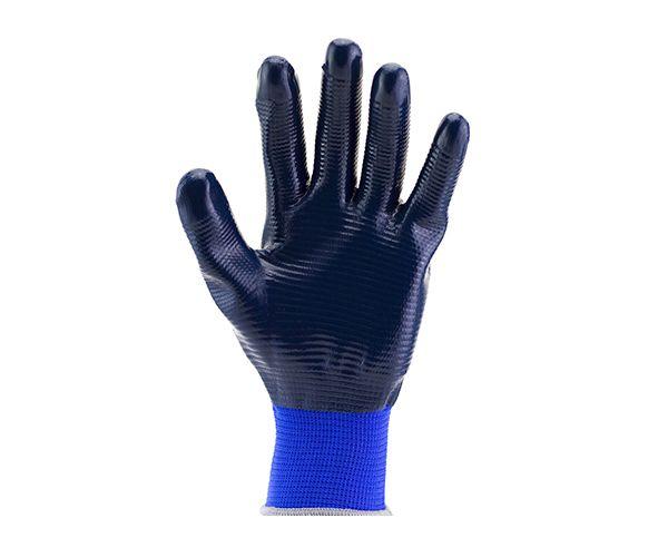 Luva SS1002L tricotada em nylon com banho nitrílica azul