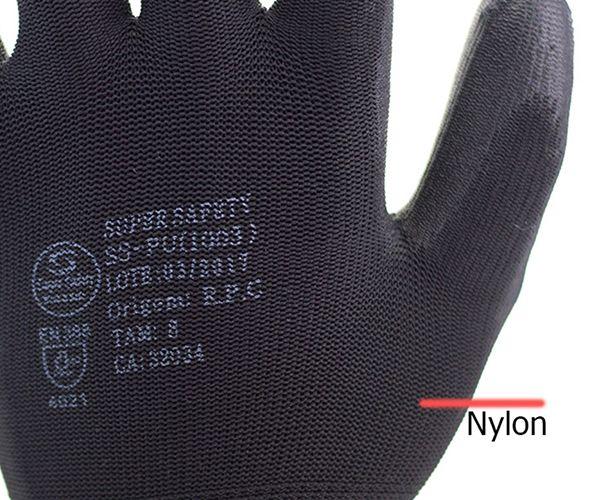 Luva SS1003 tricotada em nylon com banho de PU preta