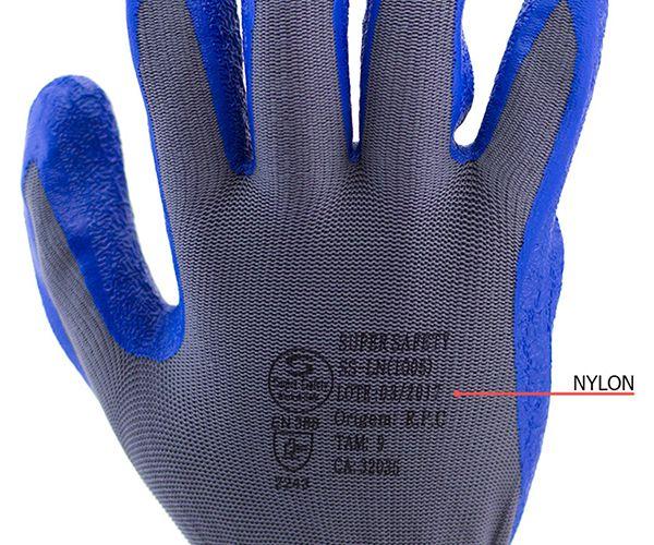 Luva SS1005 tricotada nylon com banho látex azul