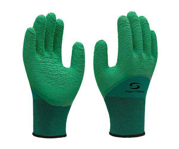 Luva SS1009 tricotada nylon com banho látex natural verde t. 9