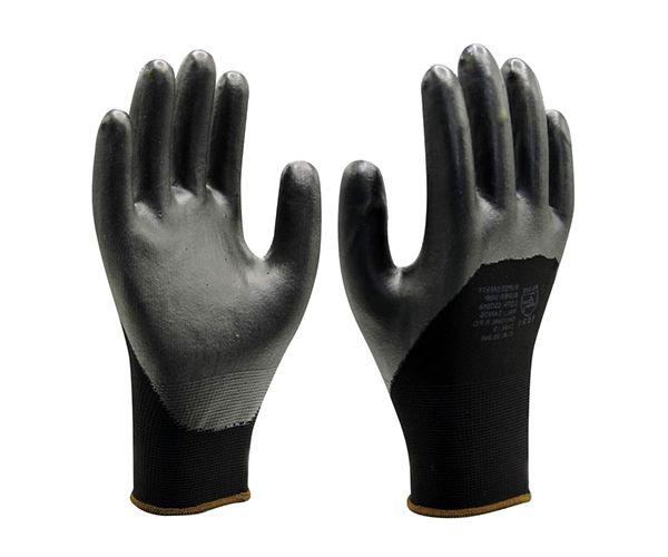 Luva SS1013 tricotada em nylon com banho de PVC preta t. 9