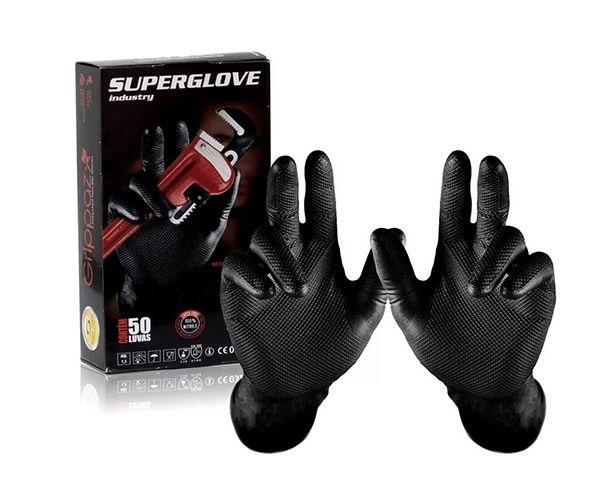 Luva Super Glove nitrílica descartável (caixa com 50) preta