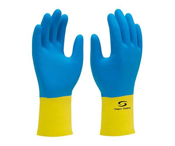 Luva Supermix de látex e neoprene azul e amarela