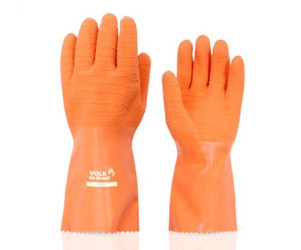 Luva térmica e química Adere látex corrugado laranja