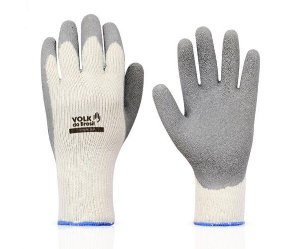 Luva Therma Grip tricotada algodão com banho látex branca e cinza
