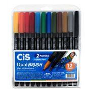 Caneta Brush Pen Cis Dual Brush 12 Cores