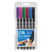 Caneta Brush Pen Cis Dual Brush 6 Cores