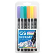 Caneta Brush Pen Cis Dual Brush 6 Cores Pastel