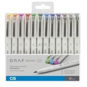 Caneta Brush Pen Cis Graf Fine 12 Cores