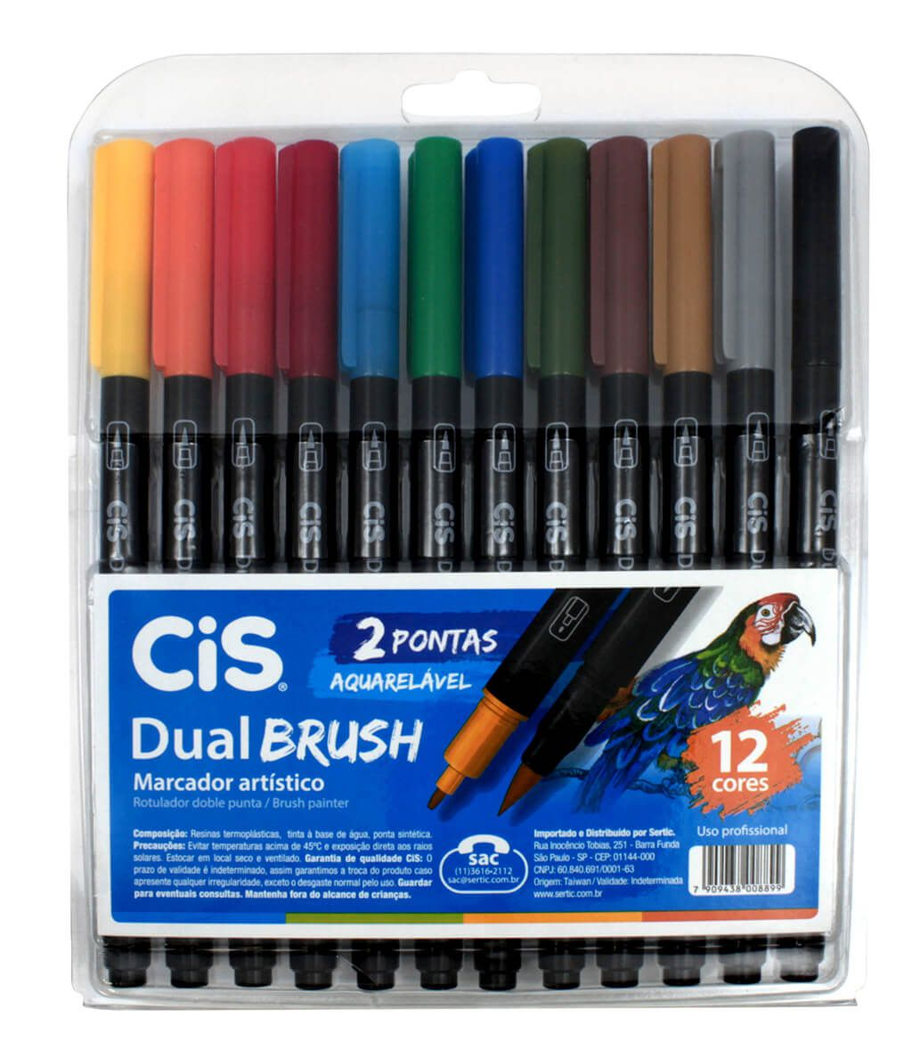 Caneta Brush Pen Cis Dual Brush 12 Cores