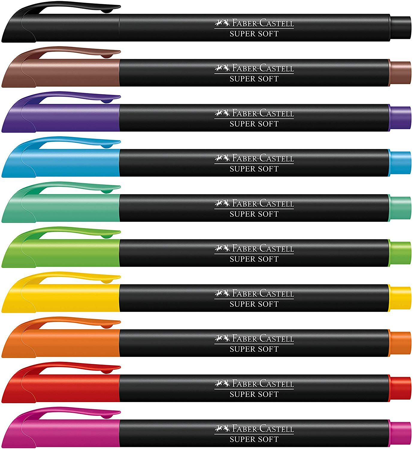 Caneta Brush Pen Faber Castell Supersoft 10 Cores