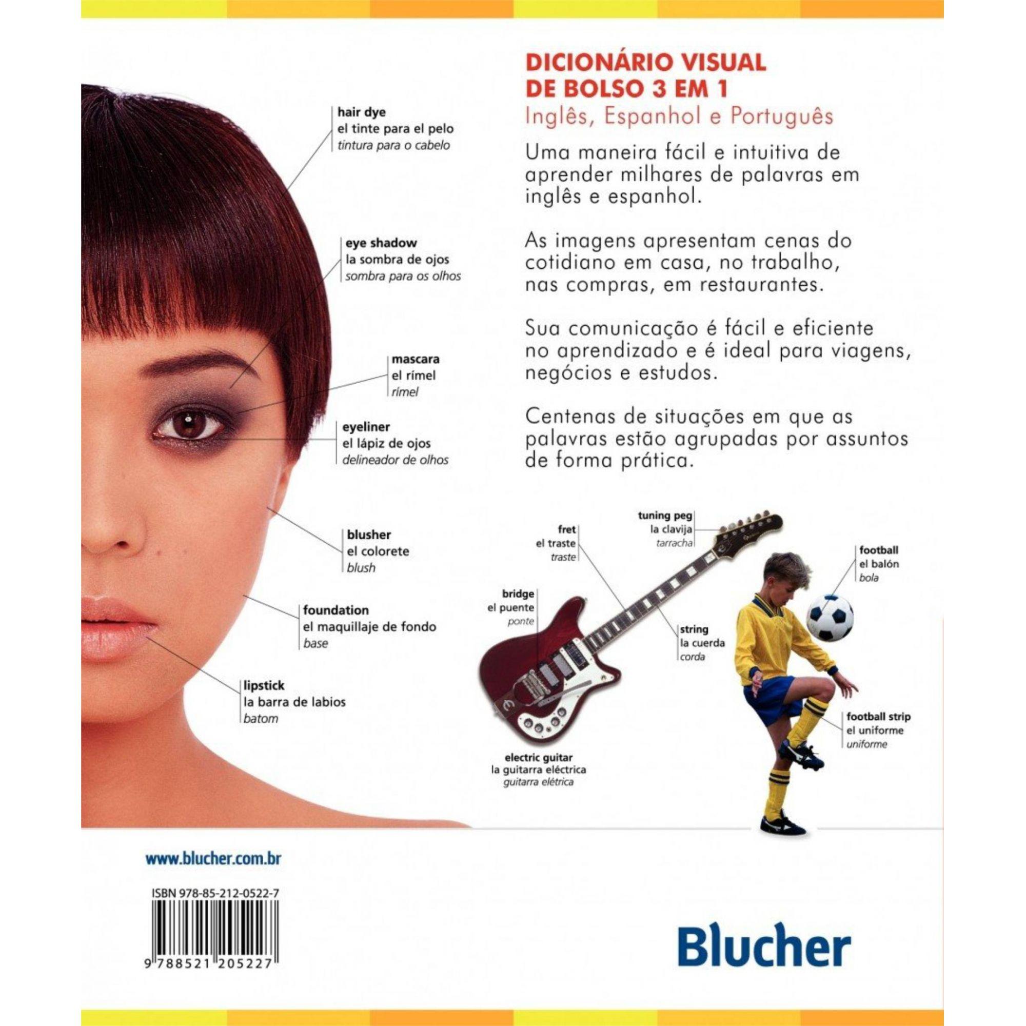 Dicionário Visual de Bolso 3 em 1 - Inglês, Espanhol, Português -
