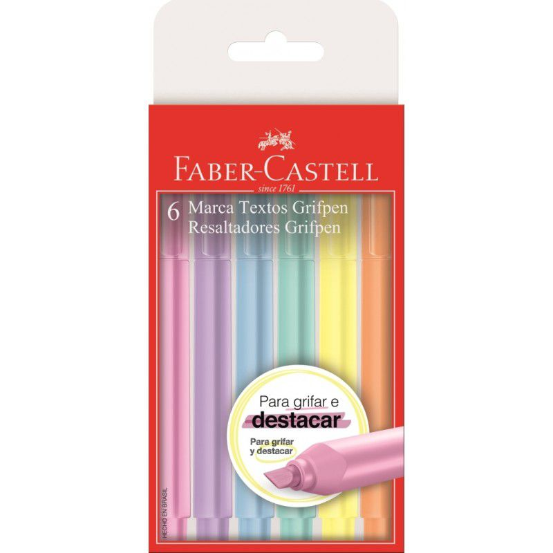 Marca Texto Grifpen Pastel Faber Castell 6 Cores