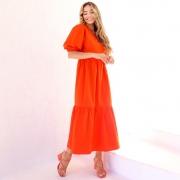 Vestido Longuete Zara em Tricoline