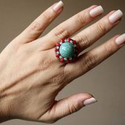 Maxi anel boho chic turquesa e vermelho