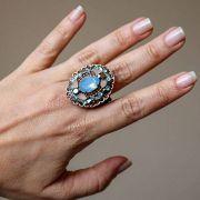 Maxi anel com pedras azul infinity