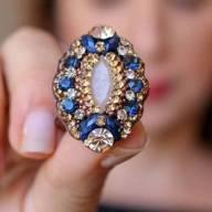 Maxi anel com strass e pedra azul marinho