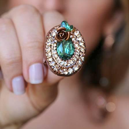 Maxi anel e brinco de flor