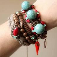Mix de pulseiras boho chic turquesa e vermelho