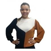 Blusa Tricot Trico Colorido Malha Grossa Lançamento