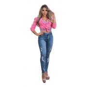 Calça Jeans Feminina Cigarrete Com Ziper Na Barra