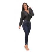 Calça Jeans Feminina Cigarrete Tendência Azul Escuro