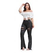 Calça Jeans Preta Flare Feminina Rasgada  Cintura Alta