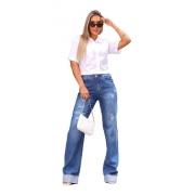 Calça Wide Leg Jeans Destroyed Tendencia