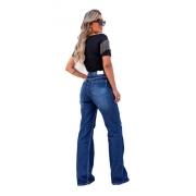 Calça Wide Leg Jeans Destroyed Jeans Pantalona Tendencia