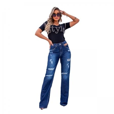 Calça Wide Leg Jeans Destroyed Tendência