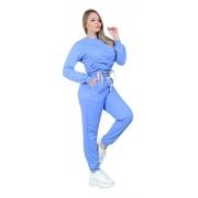 Conjunto Moletom Feminino Azul Moda Inverno