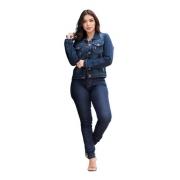 Jaqueta Feminina Jeans Manga Longa Com Elastano Tendência
