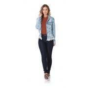Jaqueta Jeans Feminina Over Esfarrapada