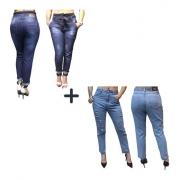 Kit Calça Jeans Clochard + Calça Mom Feminina