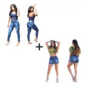 Kit Calça Jeans Feminina Cigarrete + Shorts Feminino Curto