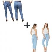 Kit Calça Jeans Mom Feminina Cintura Alta Clara