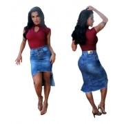 Saia Jeans Frente Curta E Longa Atrás Fu3045