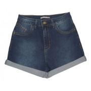 Shorts Feminino Mom Jeans Azul Escuro