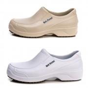 Kit 2 Pares Sapato Antiderrapante Soft Works Com Biqueira Em Composite - Bege + Branco - BB66