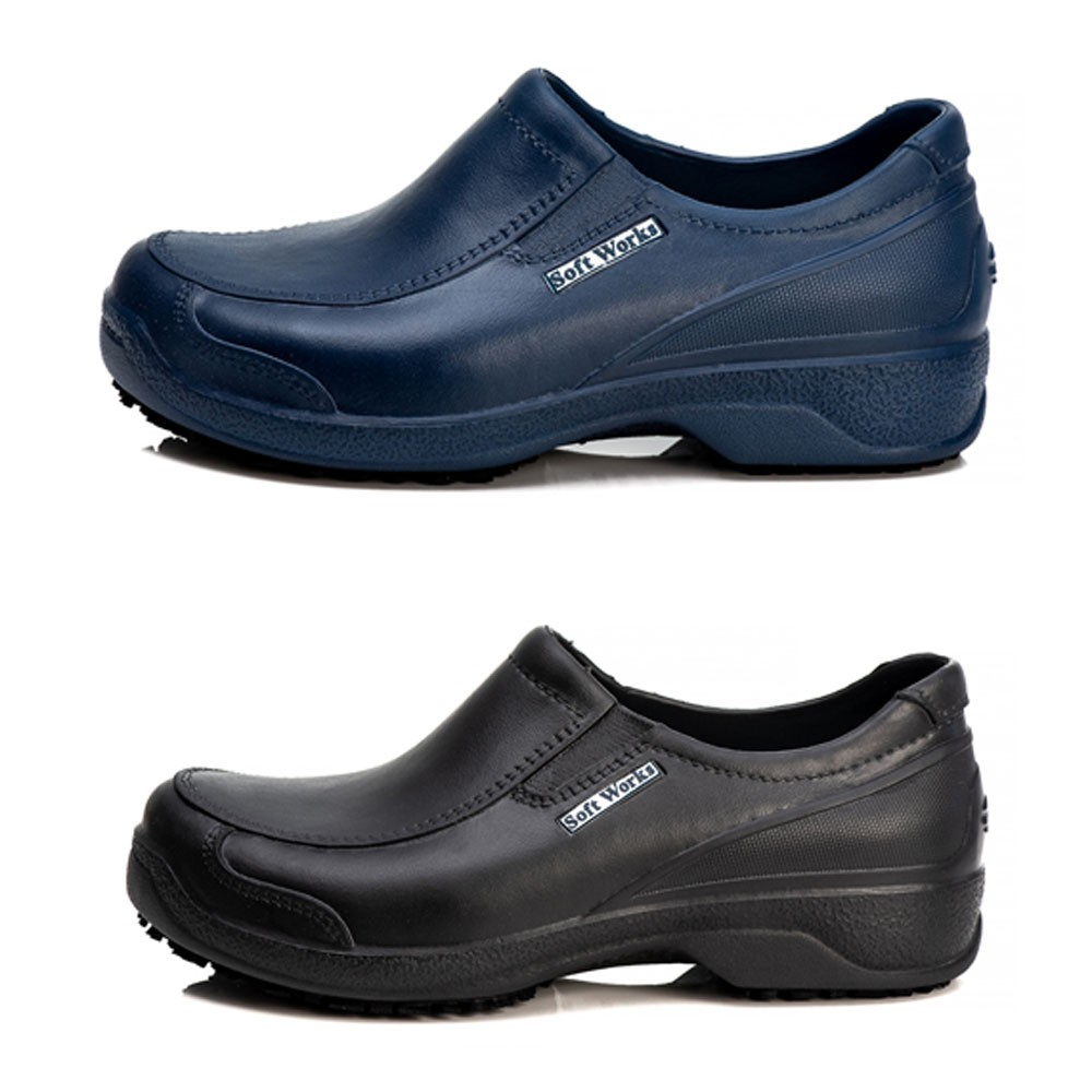 Kit 2 Pares Sapato Antiderrapante Soft Works Com Biqueira Em Composite - Azul Marinho + Preto - BB66